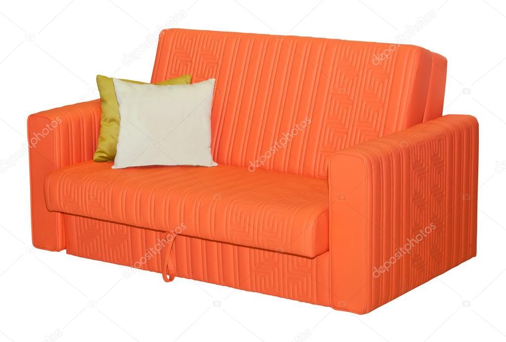 Divano Pelle Arancione : Divano in pelle arancione con pilllows isolato u foto stock
