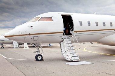 White private business jet