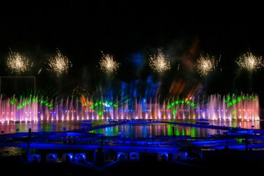 Laser and fireworks show in Moscow, Russia