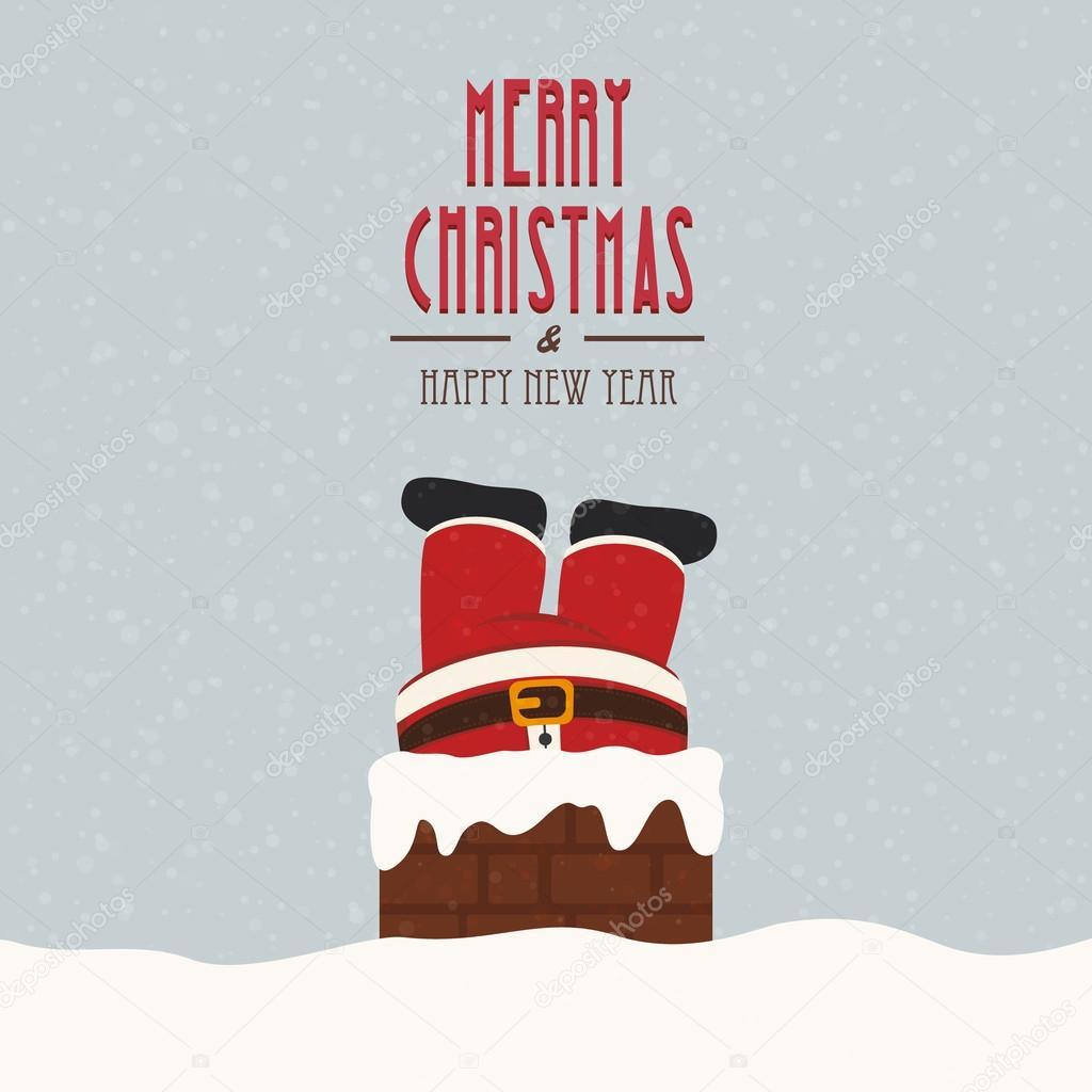 santa stuck in chimney vintage snow background