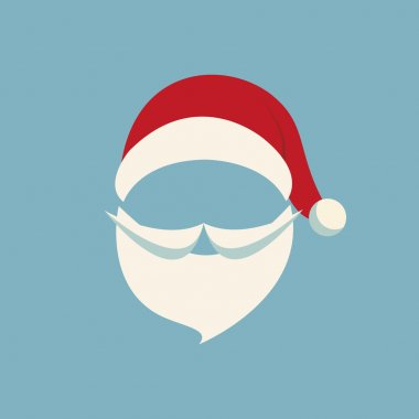 santa hat and beard blue background