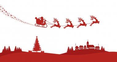 santa sleigh reindeer fly red silhouette