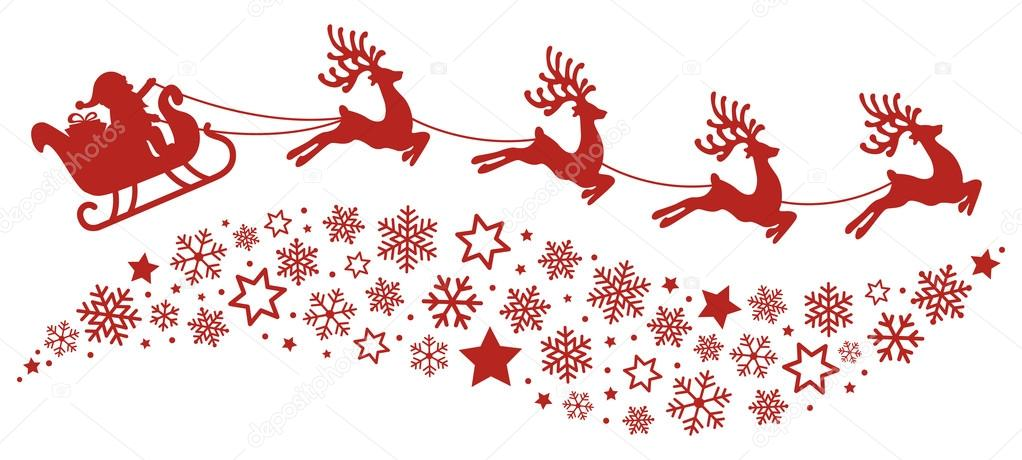 santa sleigh reindeer flying snowflakes red silhouette stock