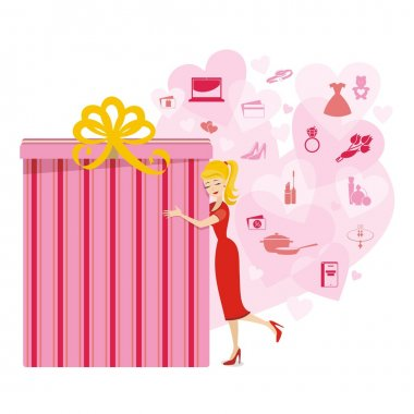 Big present for woman in pink colors