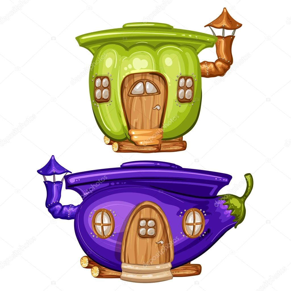 House for gnome made from eggplant and caspicum 30