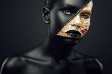 Woman with zip on face