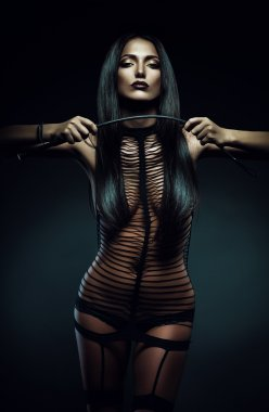 Sexy woman in striped costume