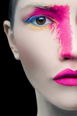 Girl with pink make up