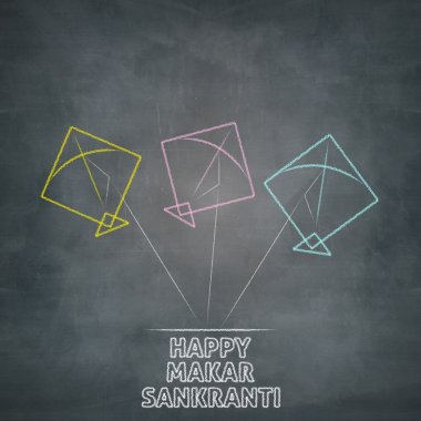 three kites illustration on chalkboard of happy makar sankranti