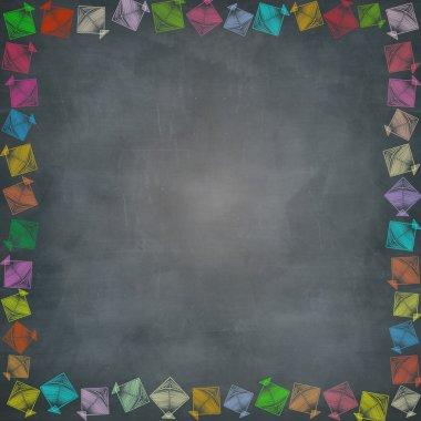 multiple kite border on chalkboard