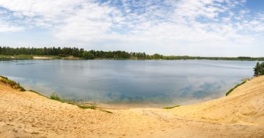 Forest Lake with Sand beach bed bottom
