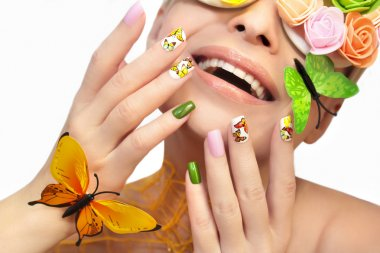 Manicure with butterflies.