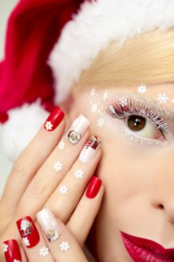 New year's manicure and makeup.
