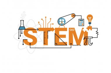 Illustration of STEM education word typography design in orange theme with icon ornament elements stock vector