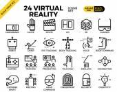 Fényképek Virtuális valóság pixel tökéletes vázlat ikonok