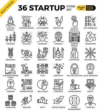 Startup business pixel perfect outline icons
