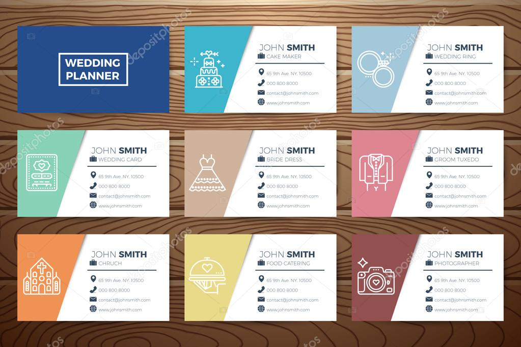 Wedding planner business card — Stock Vector © nongpimmy #111343364