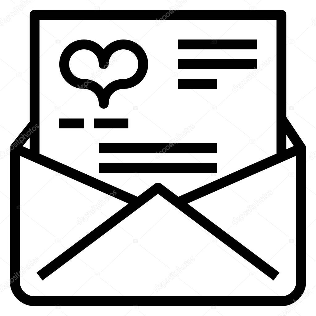 Love letter icon for web,  vector illustration icon
