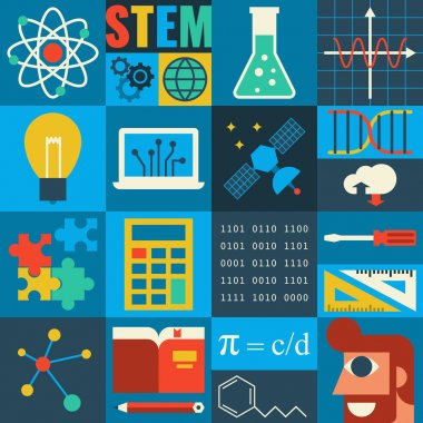 Illustration of STEM education in apply science concept stock vector