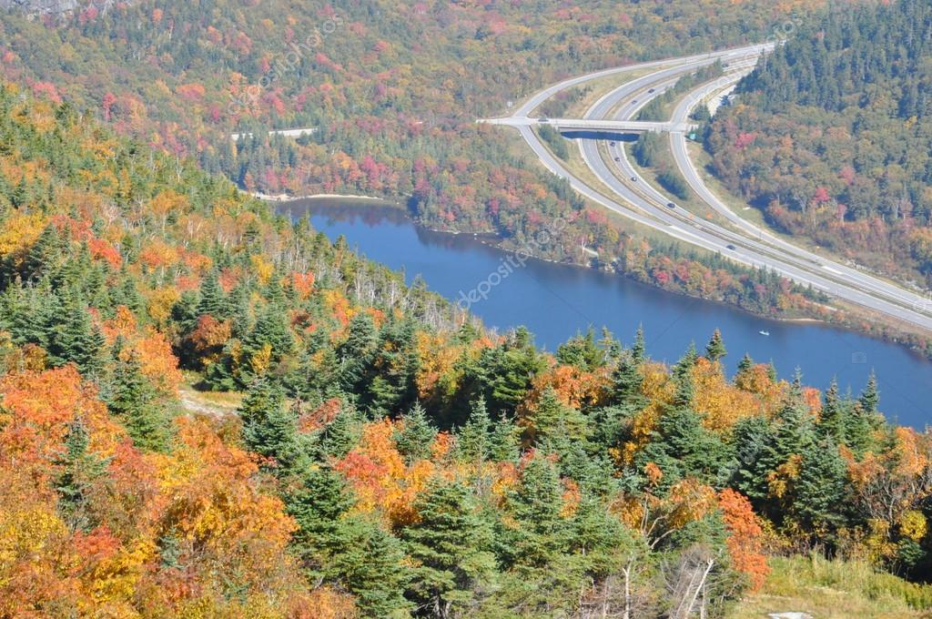 Fall Foliage view from Cannon Mountain in New Hampshire, USA