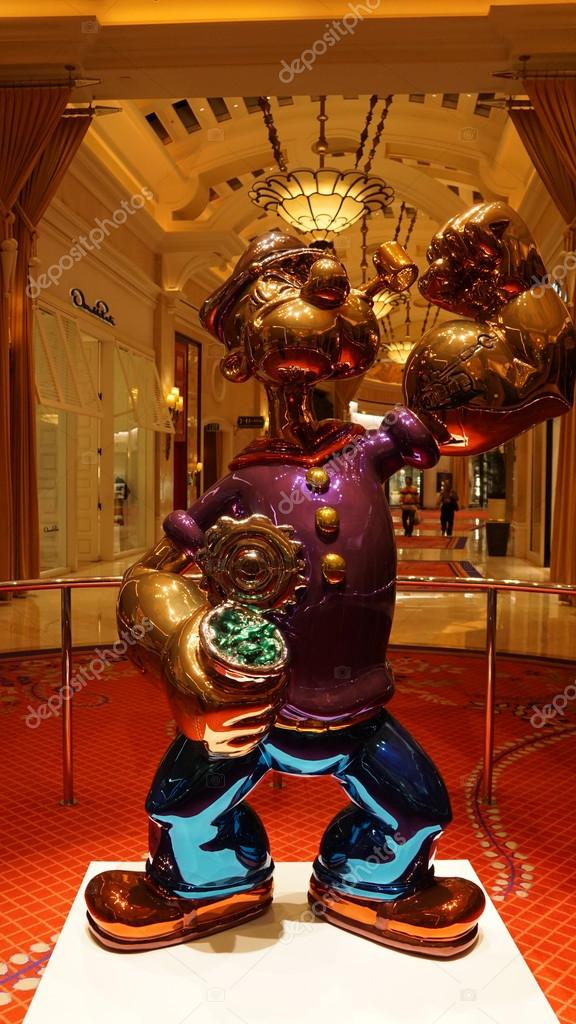 The Jeff Koons Popeye Sculpture display at the Wynn Hotel in Las ...