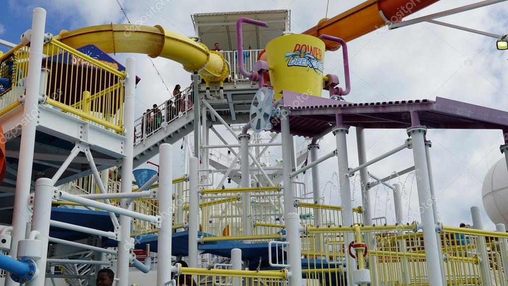water slides on the carnival breeze stock editorial photo