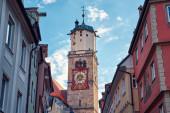 Stone Clock Tower. Alte St. Martin Kirche in Memmingen, Deutschland.