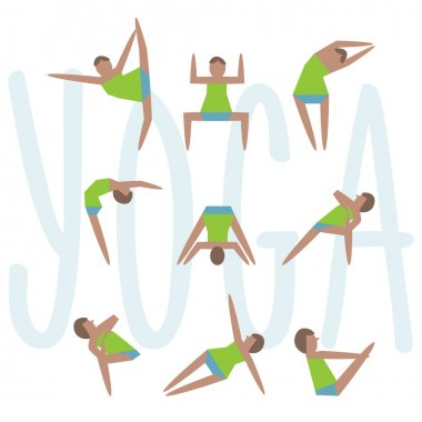 Yoga exercises. Cartoon yoga icon set good for yoga class, center, studio, poster and other design. Sketch with girl in traditional yoga poses. Stylish vector illustrated yoga asans collection.