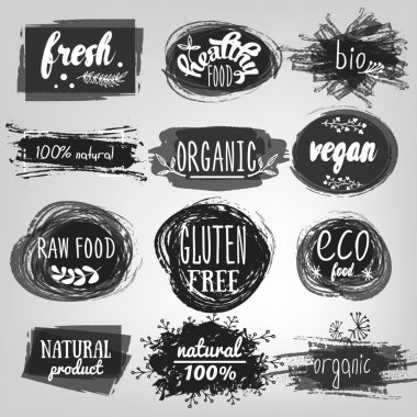 Labels with vegetarian and raw food diet designs. Organic food tags and elements set for meal and drink,cafe, restaurants and organic products packaging.Vector illustrated bio detox logo. icon