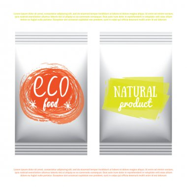 Plastic vegetarian and raw food diet designs pack. Vector illustrated bio detox meal package. Foil organic products packaging template.