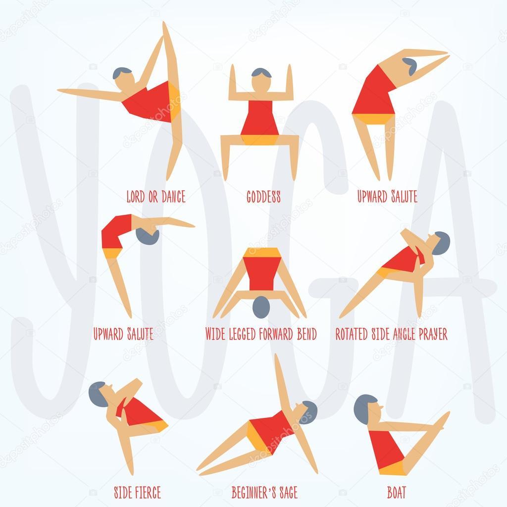 Yoga-Übungen. Cartoon Yoga Symbolsatz für Yoga-Kurs, Center ...