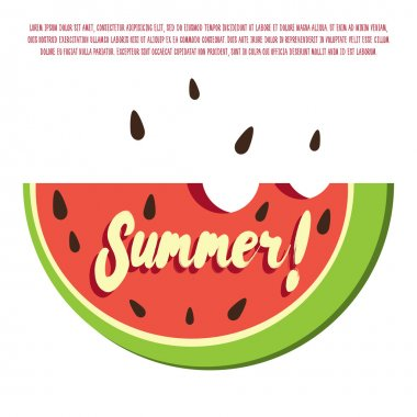 Summer poster with watermelon slice. Vector template for your fresh summer design, good for vegetarian summer banner, fresh market poster, bright summer postcard and others.