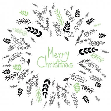 Merry Christmas! Decorative greating card. Simple holiday post card design. Poster themplate. Vector