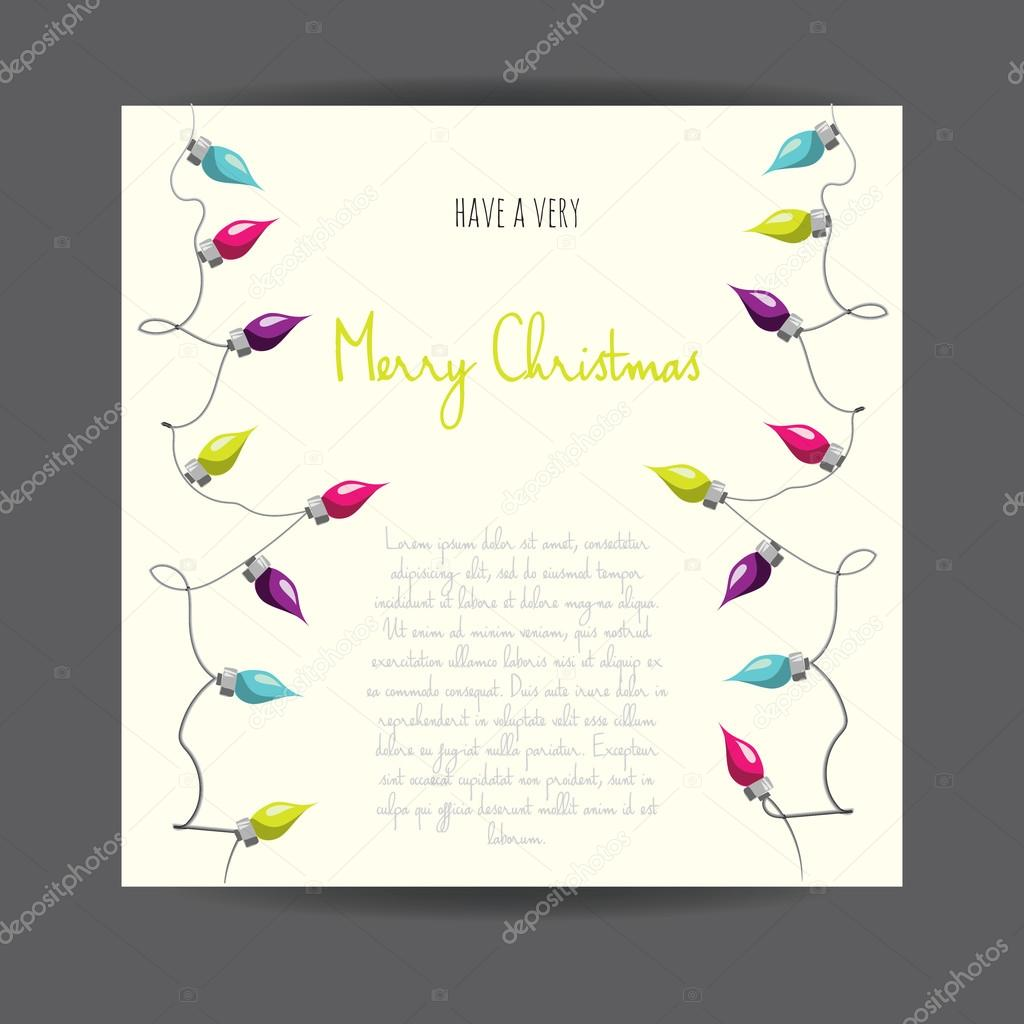 Merry Christmas! Vector illustrated greeting card with electric lamp ...