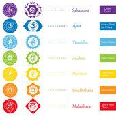 Ikony, čakry. Koncept čakry v hinduismu, buddhismu a Ayurveda. Design spojené s jógy a Indie. Vektorové ilustrace