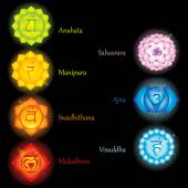Fotografie Glowing chakras icons . The concept of chakras used in Hinduism, Buddhism and Ayurveda. For design, associated with yoga and India. Vector illustrated