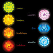 Glowing chakras icons . The concept of chakras used in Hinduism, Buddhism and Ayurveda. For design, associated with yoga and India. Vector illustrated