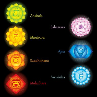 Glowing chakras icons . The concept of chakras used in Hinduism, Buddhism and Ayurveda. For design, associated with yoga and India. Vector illustrated stock vector