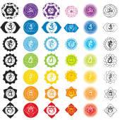 Čakry ikony. Koncepce čakry v hinduismu, buddhismu a Ayurveda. Pro design spojená s jógy a Indie. Anahata, Manipura, vektorové Sahasrara, Ajna, Vissudha, Muladhara Svadhisthana
