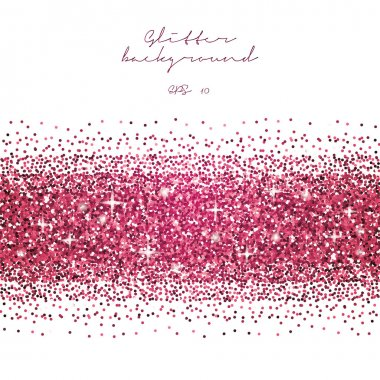 Pink glitter abstract background. Tinsel shiny backdrop. Luxury gold template. Vector