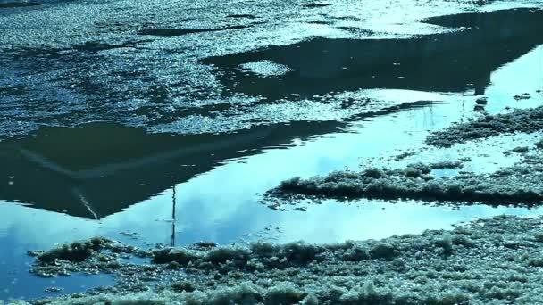 guidare auto attraverso il movimento di pozzanghere di traffico e neve primavera video slow motion