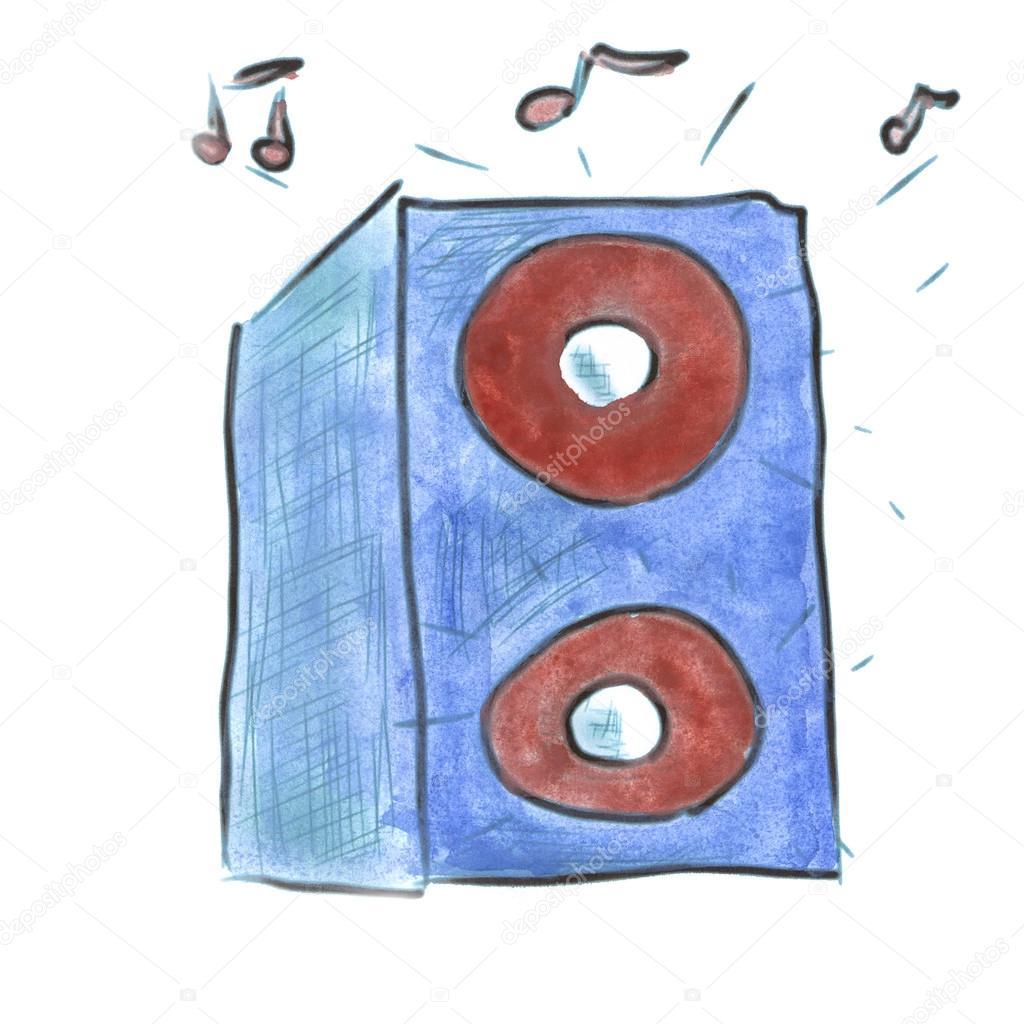 Blue Watercolor Cartoon Music Speaker Isolated Stock Photo