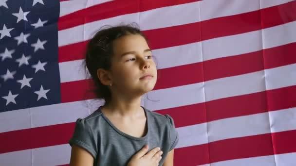 Girl and USA American Flag