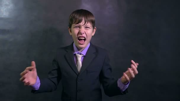 businessman teenager angry boy shouting swears slow motion