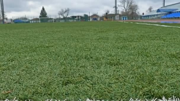 fotbalový míč na fotbalovém hřišti