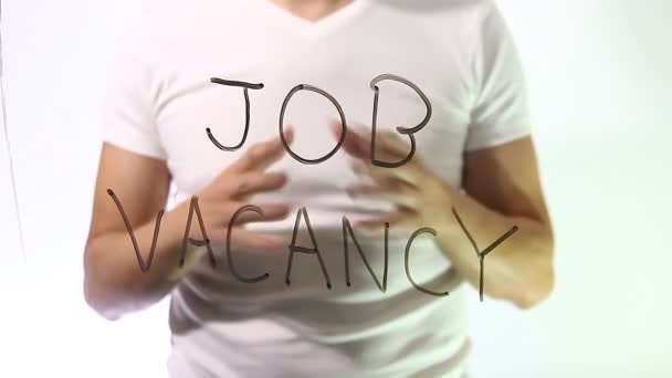 job vacancy inscription businessman man talks