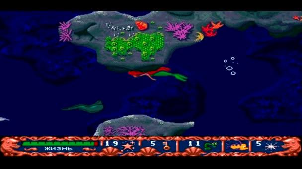 Uryjpinsk. Rusko - 28 října 2015: Herní herní konzole Sega Genesis Ariel malá mořská panna - jedna z nejpopulárnějších her retro konzole na 28 října 2015 v Urupinsk, Rusko