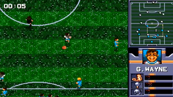 URYUPINSK. RUSSIA - APRIL 7, 2016: Gameplay game console Sega Genesis AWS Pro Moves Soccer - retro console games on April 7 2016 in Urupinsk, Russia