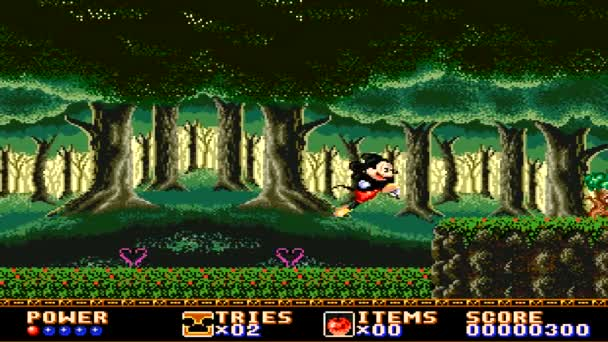 URYUPINSK. RUSSIA - APRIL 7, 2016: Gameplay game console Sega Genesis Castle of Illusion Starring Mickey Mouse - Disney character Mickey Mouse retro console games on April 7 2016 in Urupinsk, Russia