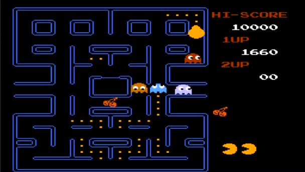 URYUPINSK. RUSSIA - JULY 14, 2016: Gameplay game console Nintendo nes Pac-Man - round monster head running around collecting points a July 7 2016 in Urupinsk, Russia